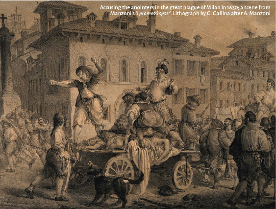 Litografia, que mostra uma carroça com corpos em meio a uma cidade / Accusing the anointers in the great plague of Milan in 1630; a scene from Manzoni's 'I promessi sposi'. Lithograph by G. Gallina after A. Manzoni