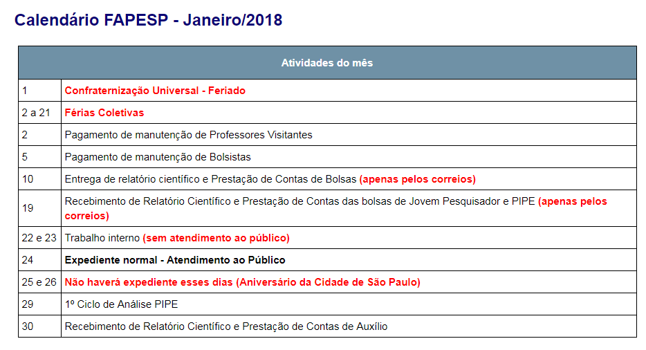 fapesp calendario 2017 2018 jan